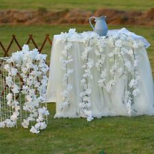 2PC White Artificial Silk Cherry Blossom Flower Hanging Vine Garland Home Decor