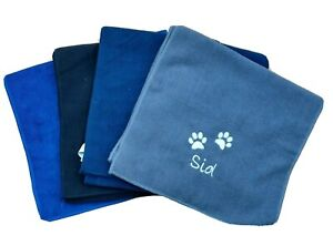 personalised  dog towel microfibre - embroidered with paw design & name