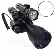 3in1 Tactical 3-9X40 Hunting Rifle Scope Optics Sniper W/ Red Laser & Torch