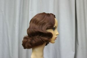 Necias Hair Styling Synthetic Mid Brown Half or 3/4 Wig 50s 40s Pinup Style wavy