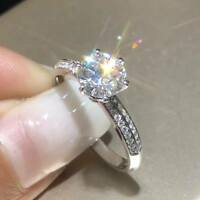 Solid 14K White Gold Over 3 Ct 9MM Simulated Moissanite Diamond Engagement Ring