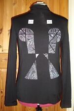 BNWT  Ladies Hand Screen Printed Black Patterned Long Sleeve Polo Neck Top Sz 14