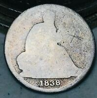 1838 O Seated Liberty Dime 10c NO STARS Good Key Date Worn US Silver Coin CC5239