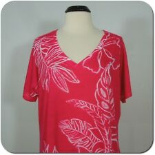 LAURA SCOTT Women Floral Pink V-Neck Tee, size 20-22W/M
