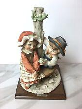 Rare Vtg Armani Capodimonte Boy and Girl Tree Bench Figurine Italy 1984 Signed