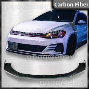 Carbon Fiber Front Bumper Lip Body Kit Spoiler R-line For VW GOLF R GTI CITY