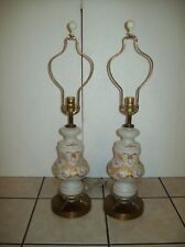 """Two """"Antique"""" Tabletop Lamps  ~ Brass Base ~ White Glass ~ Raised Gold Design"""