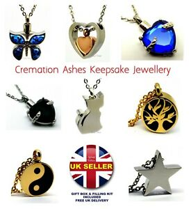 Memorial Ashes Necklace Cremation Urn Keepsake Pendant Funeral Jewellery