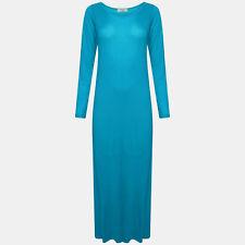 WOMENS LADIES LONG SLEEVE STRETCHY PLAIN JERSEY MAXI DRESS PLUS SIZE 8-26