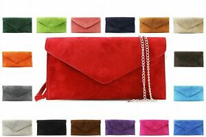 Ladies Women Real Suede Leather Envelope Chain Clutch Party Prom Evening Bag