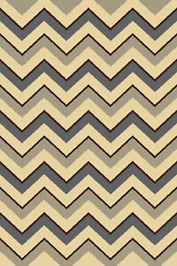 """Modern Gray Ivory Area Rug 2x4 Oval Striped Multi Carpet - Actual Size 2'7""""x4'2"""""""