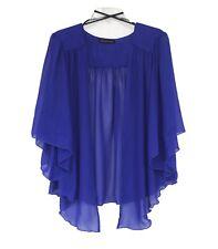 Womens Royal BLUE Plus Size 1X Chiffon Cardigan Bolero Shrug Top