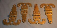 "VINTAGE ICE BOX HARDWARE SOLID BRASS FOUR HEAVY FANCY HINGES 4 1/2"" l x 3"" w"