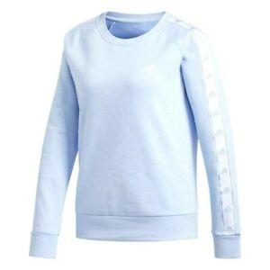 New Adidas Womens Crewneck Athletic Logo Fleece Tape Sweatshirt Blue Coral XS-XL