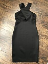 ATMOSPHERE Crossover Bust Wiggle Bodycon Midi Little Black Dress Size 8