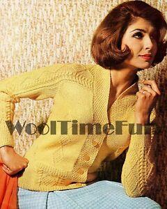 Knitting Patterns Ladies Vintage 1950s Cable/Aran Style Cardigan/Jacket. DK Yarn
