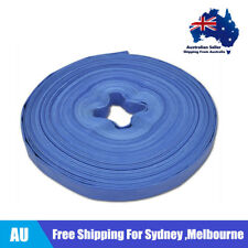 """50 m 1"""" PVC Flat Water Delivery Hose Discharge Pipe Pump Lay Flat Blue O7H1"""