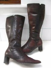 Ladies brown oxblood leather TAMARIS western BOOTS size UK 6 cowboy biker tooled