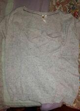 ladies White Stuff short sleeve beige knitted cotton mix jumper size 8