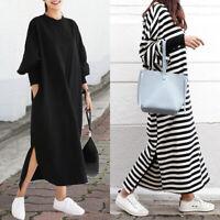 ZANZEA Women Stripe Long Maxi Dress Split Hem Jumper Sweatshirt Shirt Dress Plus