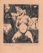 Henri van Straten 'Nude'  Original Limited Edition Woodcut Copy by EM Washington