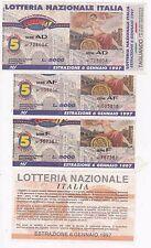 Biglietti LOTTERIA NAZIONALE ITALIA  Anno Lotteria: 6 Gennaio 1997