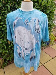 The Mountain Tie Dye T Shirt White Wolf Heart Native American XL