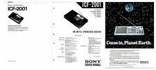 SONY ICF-2001 PHOTOCOPY OPERATING INSTRUCTIONS + SERVICE MANUAL + ADVERTISEMENT