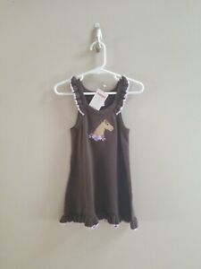 Girls GYMBOREE Brown Purple Ruffle Horse Sweater Dress Sz 12 18 M NWT