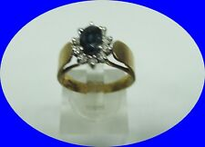 VINTAGE 14KT OVAL SHAPED GENUINE SAPPHIRE & DIAMOND YELLOW GOLD RING SIZE 7