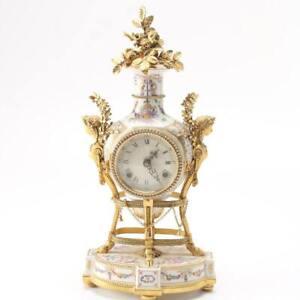 V&A Museum Marie Antoinette Porcelain Striking Mantel Clock ~ Working ~ RARE