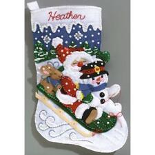 Janlynn Felt Applique Christmas Stocking Kit CHRISTMAS FUN Complete