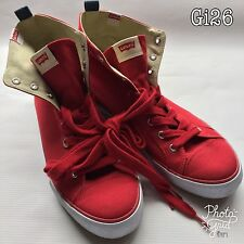 Mens Levi's Levis Shoes Red Canvas Hi Tops Size 9 218700-733-87