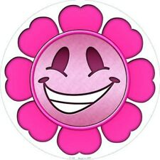 """Pink Flower Girl Smiley Face 12"""" Round Metal Sign Fun Novelty Home Wall Decor"""