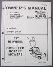 "MTD 22"" Hi Wheel Self-Propelled Rotary Mower Owners Manual 127-550A 127-550-300"