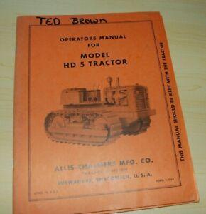 ALLIS-CHALMERS HD5 Tractor Dozer Crawler Owner Operator Operation Manual BOOK HD