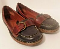 BORN Women's 7/38 M Navy Blue Brown Leather Buckle Slip On Flats Loafers W71770