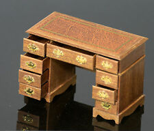 1/12th scale Mahogany Desk, double pedestal. Hand crafted.
