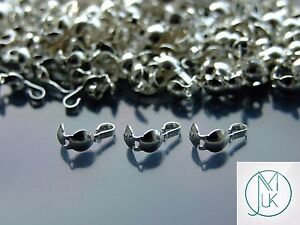 925 Solid Sterling Silver Clamshell Bead Tip End for Jewellery Making Repairs