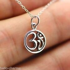 ROUND OHM NECKLACE - 925 Sterling Silver - Ohm Jewelry Om Charm Namaste Yoga NEW