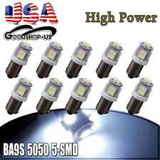 10x Cool White BA9S T10 5SMD Interior Turn Signal LED Light Bulbs T11 T4W 53 57