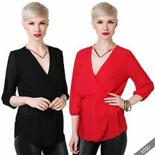 Polyester V Neck Party 3/4 Sleeve Tops & Shirts for Women