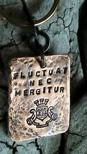 purse pendant Fob Artisan jewelry Handmade Paris Heraldry Crest Copper Key ring