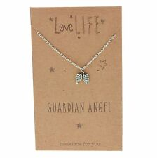 Sentiments Love Life Angel Wings Pewter Charm Necklace Guardian Angel