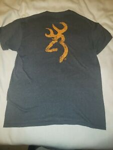 Browning Performance Tech T-Shirt White Orange New Deer Buckmark Logo NWT