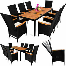 Garden Dining Set Lounge Furniture Table Chairs 8 Seats Patio Wooden Top Cushion