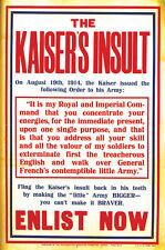 THE KAISER'S INSULT World War I propaganda style poster print