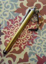 Yellow gold stylus flower charm crystal bead ear bud dust cover handmade