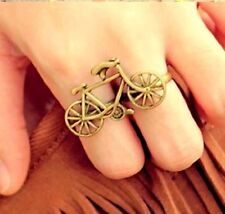 Vintage adjustable gold bike / bicycle double finger ring