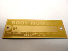 Ford Model A Murray / Murrey / Murry Body Number Plate 1928-1931